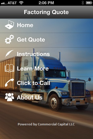 freight factoring mobile app main screen