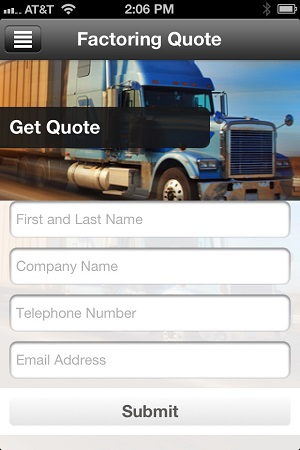 freight factoring mobile app quote screen